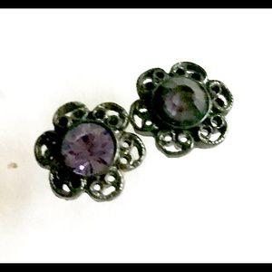 1928 purple rhinestone stud earrings